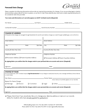Suny Cortland Personal Data Change Form - Fill Online, Printable ...