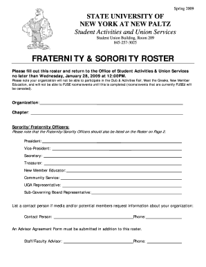 Fraternity & sorority roster - New Paltz