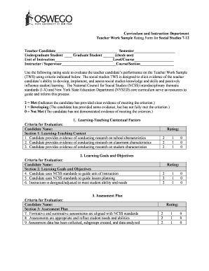 Fillable Online oswego TWS Rating Form PDF File - oswego Fax
