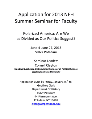 Application 2013 NEH Summer Seminar for Faculty - SUNY Potsdam - potsdam