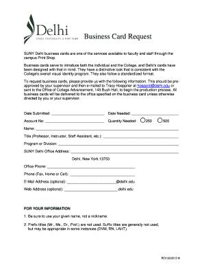 Fillable online delhi business card request form suny delhi rate this form colourmoves