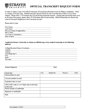 Strayer University Request Transcript - Fill Online, Printable ...