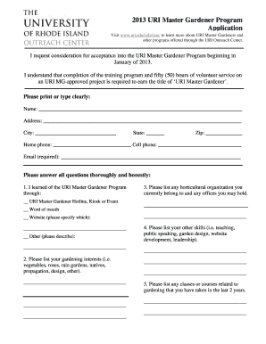 Uri Master Gardener Program Application