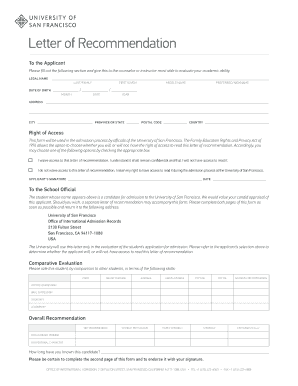 university of san francisco recommendation form