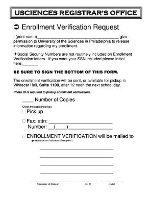 Fillable Online usciences Enrollment Verification Request