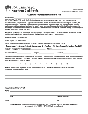 usc summer programs recommendation form