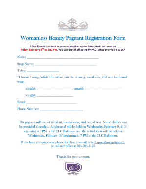beauty pageant entry form template fill online printable