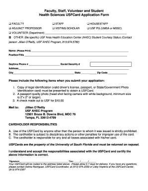 Fillable Online health usf Application Form - USF Health