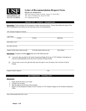 Graduate college letter of recommendation forms and templates letter of recommendation request form usf graduate school grad usf spiritdancerdesigns Image collections