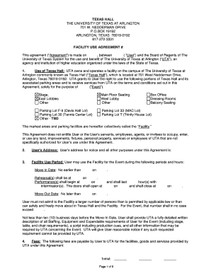 Fillable Online Uta Sample Facility Use Agreement The University