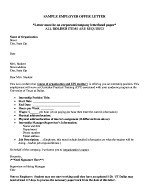 Sample employer acceptance letter for - The University of Texas at ... - jindal utdallas