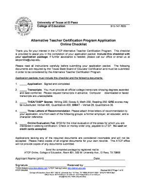 Utep Alternative Texas Teacher Certification Fill Online