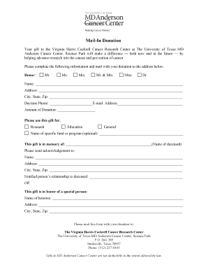 Mail-In Donation Form - Science Park - MD Anderson Cancer Center