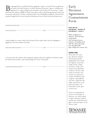 george washington university early decision agreement form