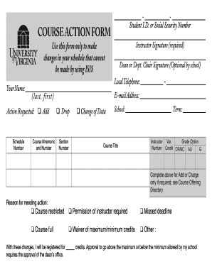 Uva Course Action Form Print - Fill Online, Printable, Fillable ...