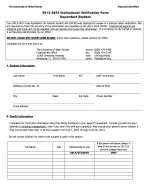 Uwf 2013 2014 Dependent Student Verification Form - Fill Online ...