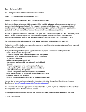 2011 Memo on Professional Development Grant Program Information