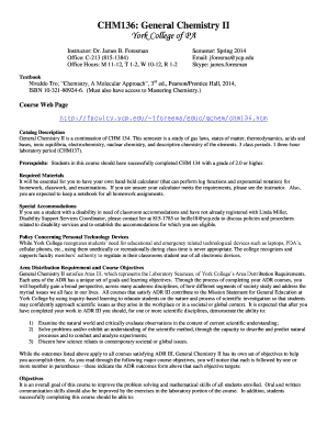 Fillable Online faculty ycp CHM 136: General Chemistry II