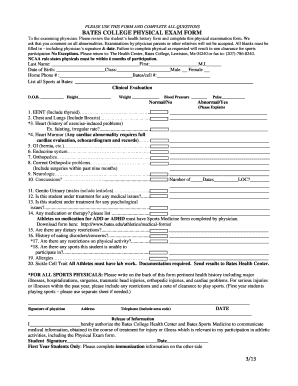 Fillable Online bates BATES COLLEGE PHYSICAL EXAM FORM List all ...