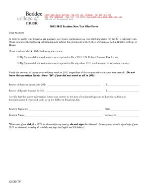 Fillable Online berklee 2012-2013 Student Non-Tax Filer Form ...