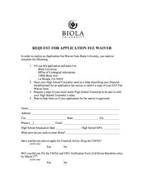 waiver application for university