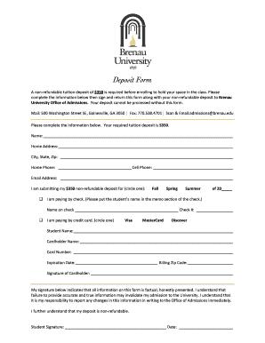 brenau intranet Fillable Online intranet brenau Deposit Form Blank.pdf - Intranet ...