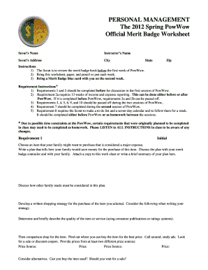 Personal management merit badge fillable worksheet form Fill ...