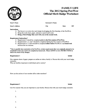 Boy Scout Family Life Merit Badge - Fill Online, Printable, Fillable ...