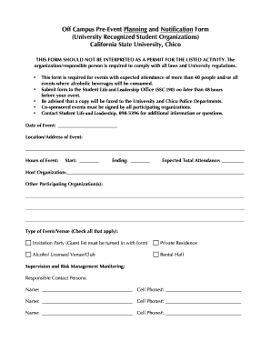 party planner forms