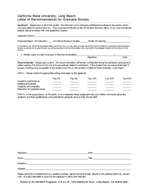 Letter of Recommendation Form - CSULB School of Art - California ... - art csulb