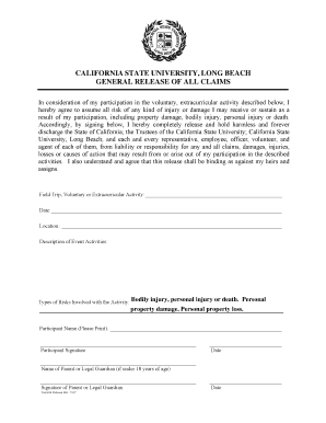 Release Of All Claims Form California Form - Fill Online ...