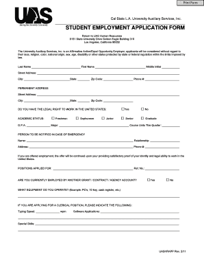 Student employment application form - California State University ...