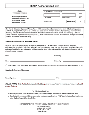 ferpa form 2019  Fillable Online sfs csusb FERPA Authorization Form - Student ...