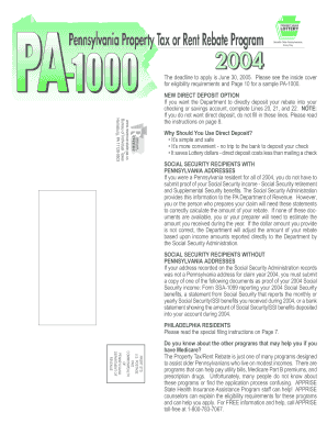 2004 PA Property Tax or Rent Rebate Program Instruction Booklet (PA-1000). Forms/Publications - club cc cmu