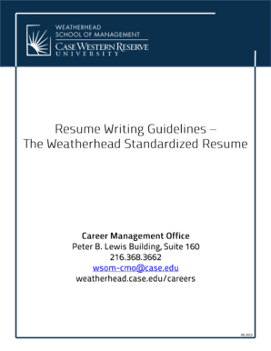 Resume Writing Guidelines - Case Western Reserve University
