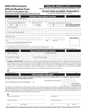 Fillable Online cdrewu NON-SSN Cal Grant GPA Verification Form ...