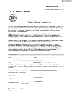 queens college fellowship leave application form