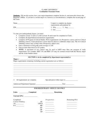 Graduation Clearance Form - Fill Online, Printable, Fillable ...