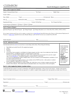 Fillable Online media clemson Form IS-120, Request to Amend Form I ...