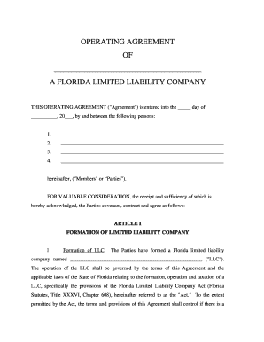 Fillable online florida limited liability company llc operating fill online platinumwayz