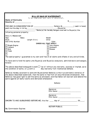 Kentucky Bill Of Sale For WaterCraft Or Boat