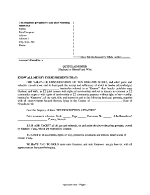 quit claim deed form nevada  Bill Of Sale Form Nevada Quitclaim Deed Form Templates ...