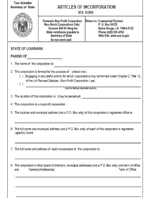 sample articles of incorporation louisiana form