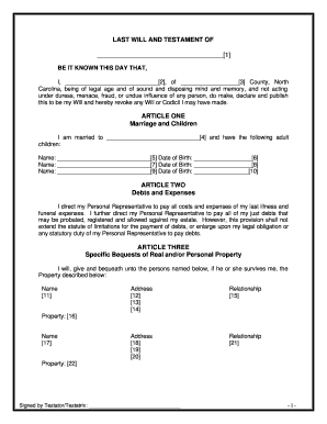 Last Will And Testament Blank Forms Pictures - Fill Online ...