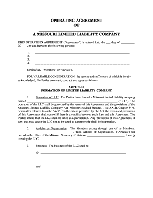 Missouri Single Member LLC Operating Agreement Template