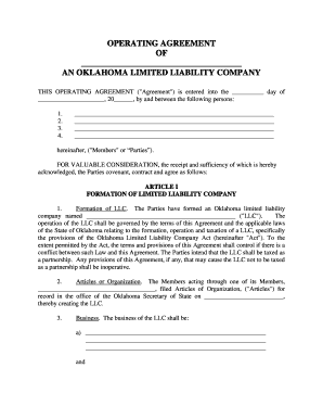 Oklahoma Limited Liability Company LLC Operating Agreement