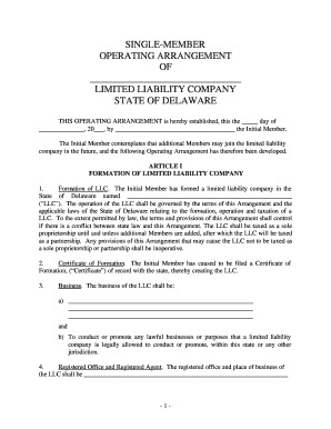 Fillable Online Delaware Single Member Limited Liability Company ...