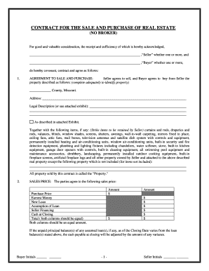 Missouri Real Estate Contract  Home Purchase Agreement Form Free
