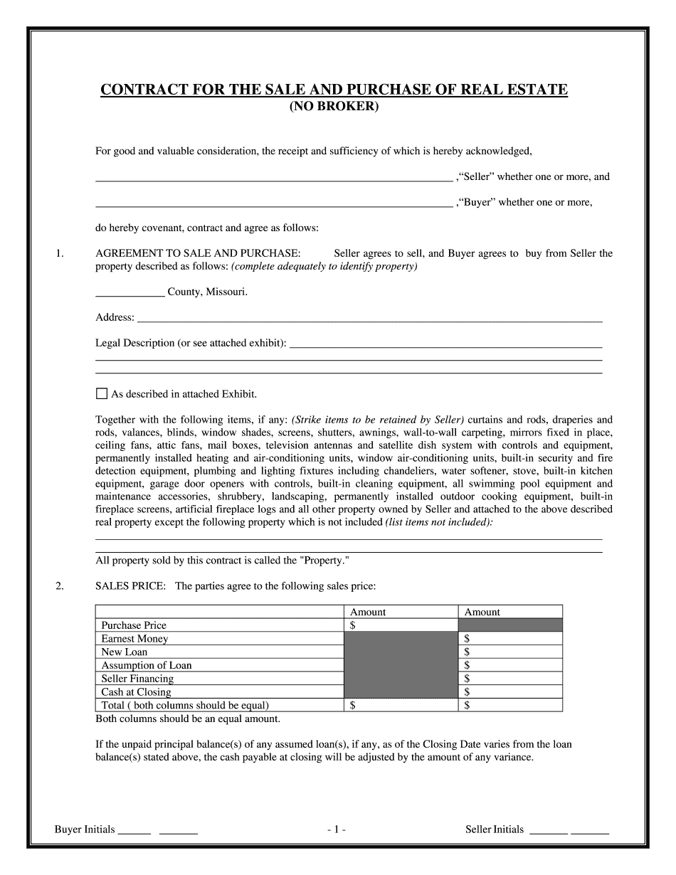 missouri real estate inspection notice form