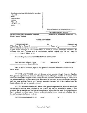 Bill Of Sale Form Illinois Warranty Deed Templates - Fillable ...